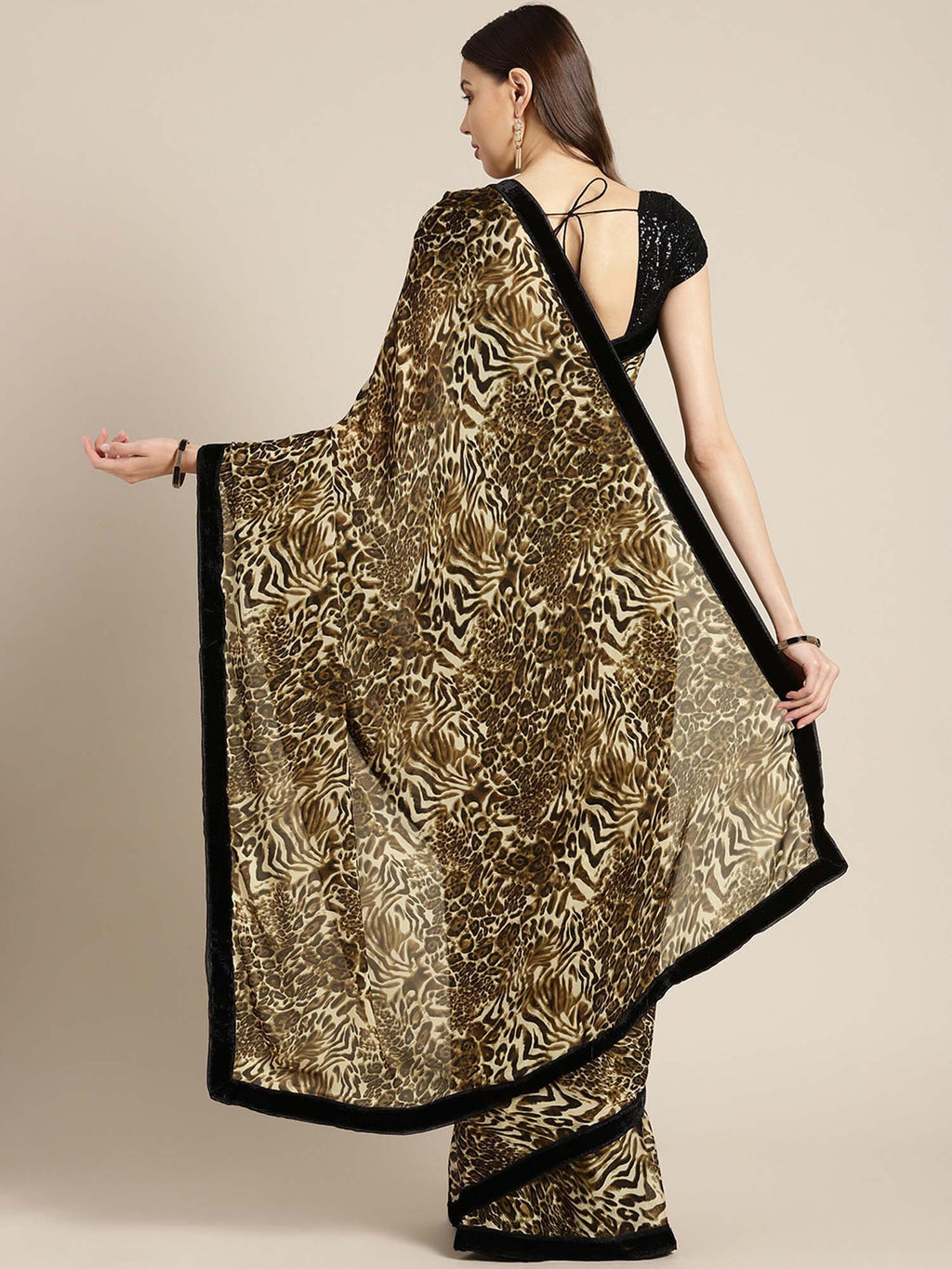 Beige & Brown Animal Print Crepe Saree - Riviera Closet