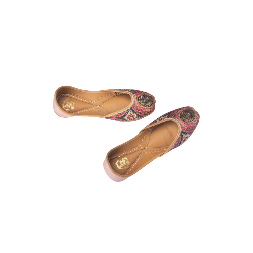 Multi Colour Circle Print Hand Embroidered Juttis - Riviera Closet