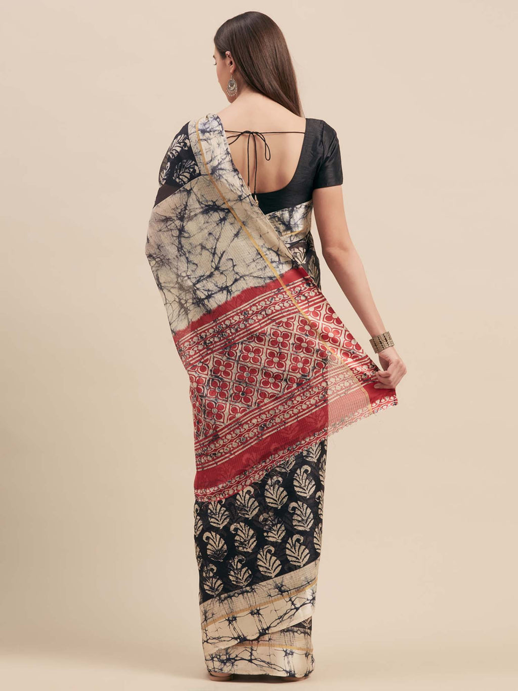Black Cotton Traditional Ikat Print Saree With Satin Border - Riviera Closet