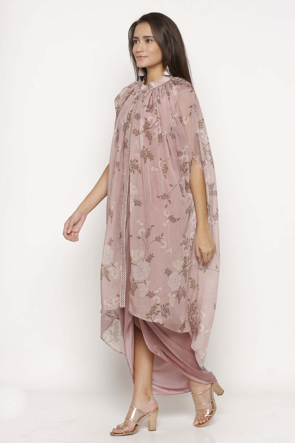 Pink Drape Dress with Cape - Riviera Closet