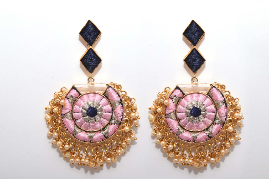 Navy Blue and Baby Pink Matte Finished Circle With Moon Shaped Earrings - Riviera Closet