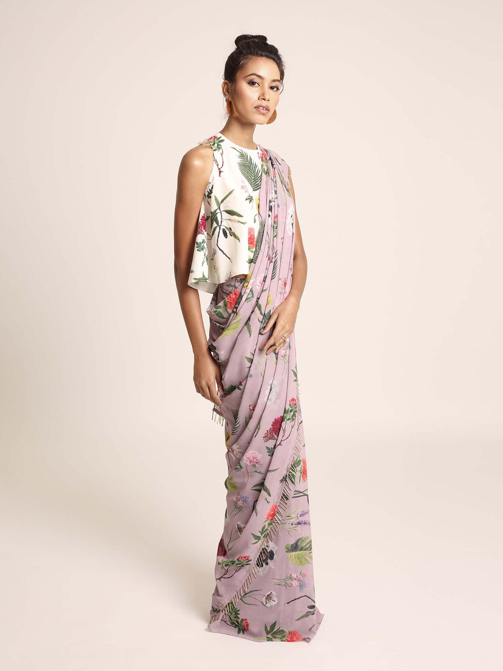 Ivory Printed Art Crepe Top with Lilac Printed Art Georgette Saree - Riviera Closet
