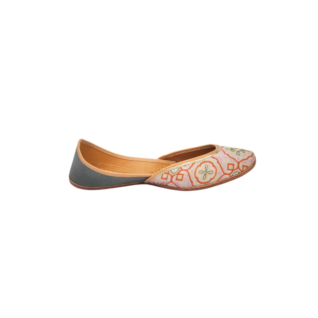 Multi Colour Hand Embroidered Printed Juttis - Riviera Closet