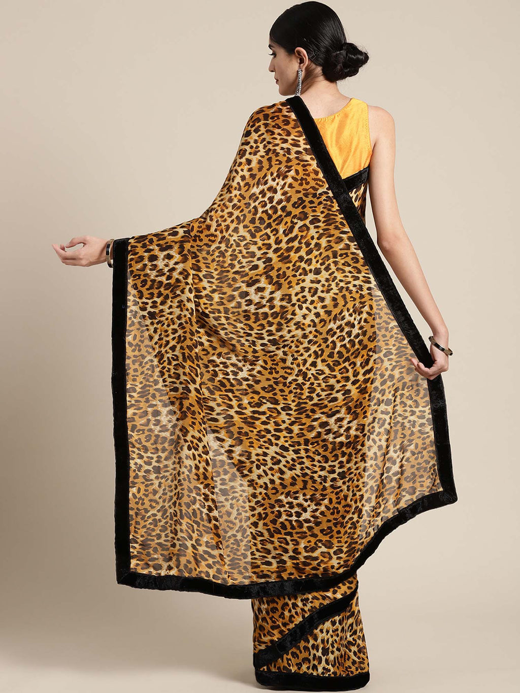Beige & Mustard Yellow Animal Print Crepe Saree - Riviera Closet