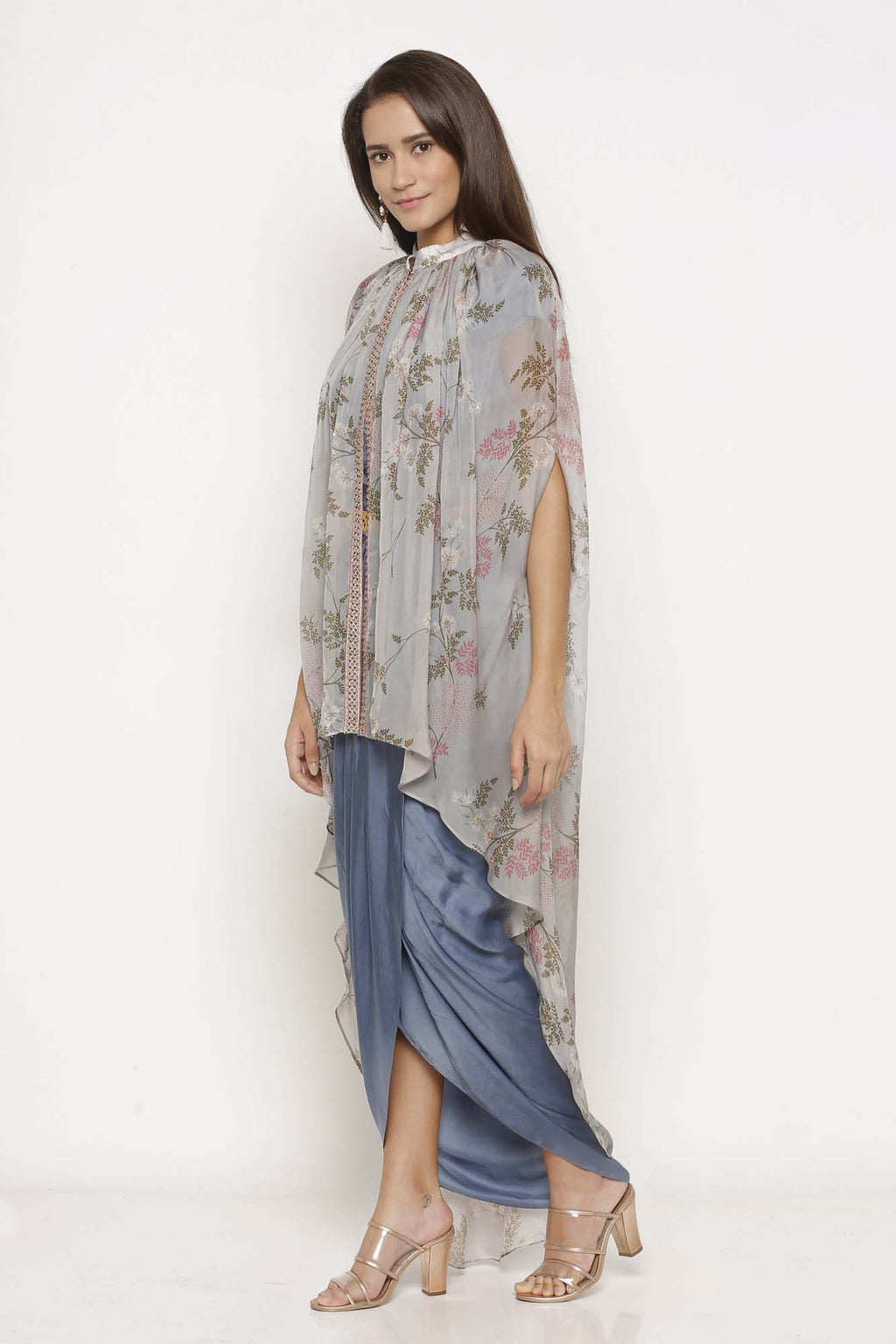 Ice Blue Printed Drape Dress with Cape - Riviera Closet