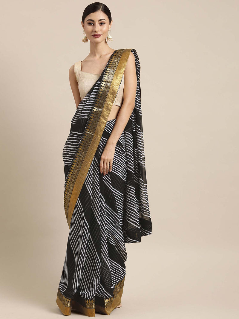 Black & White Color Poly Georgette Leheriya Saree With Printed Lace - Riviera Closet