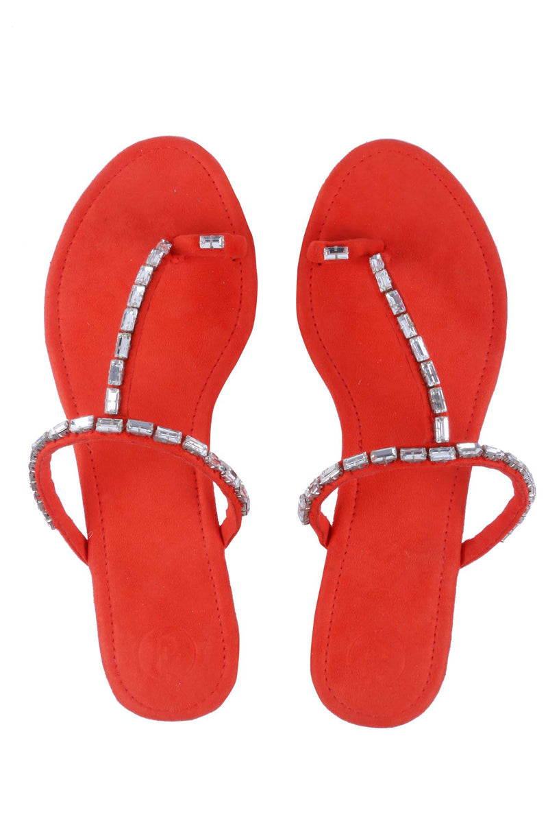 Orange Stone Thumb Flats - Riviera Closet