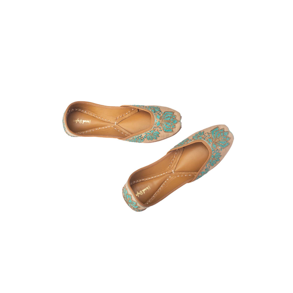 Hand Embroidered Geometric Lotus Print Rose Gold Juttis - Riviera Closet
