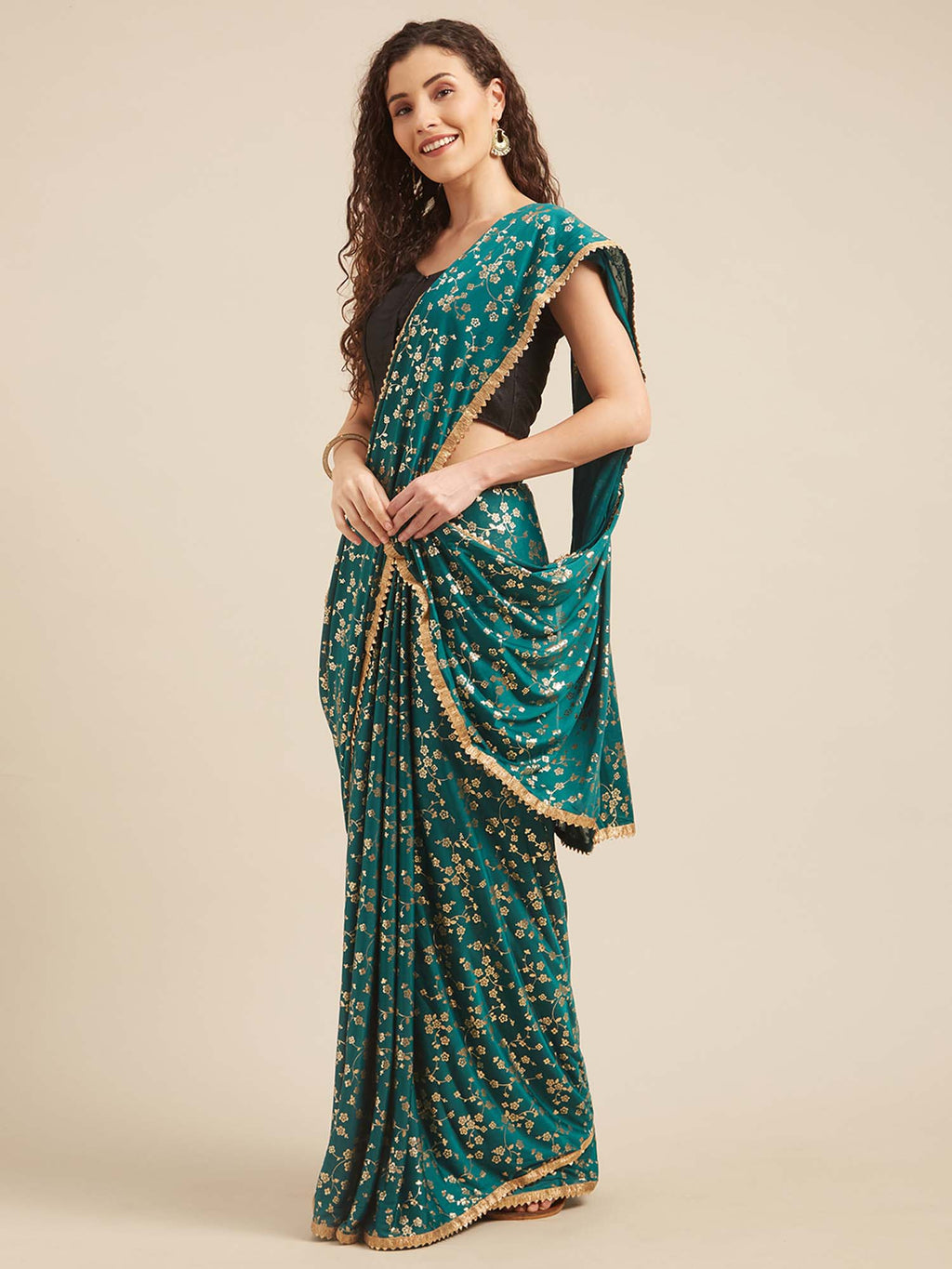 Teal Green Poly Crepe Foil Print Saree - Riviera Closet