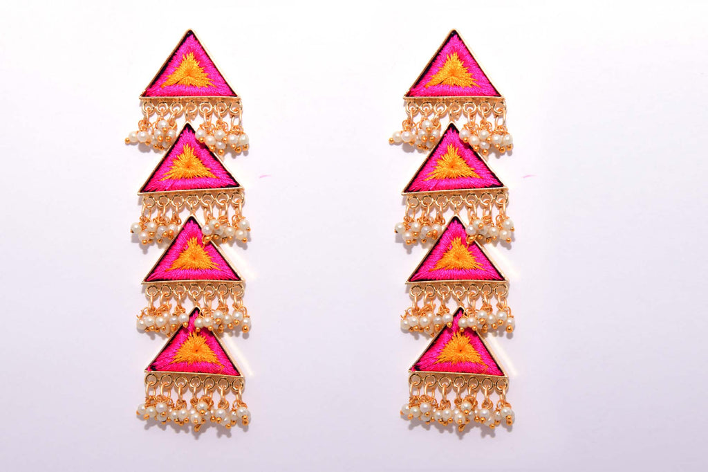 Orange and Pink Matte Finished Long Four Layered Triangle Earrings - Riviera Closet