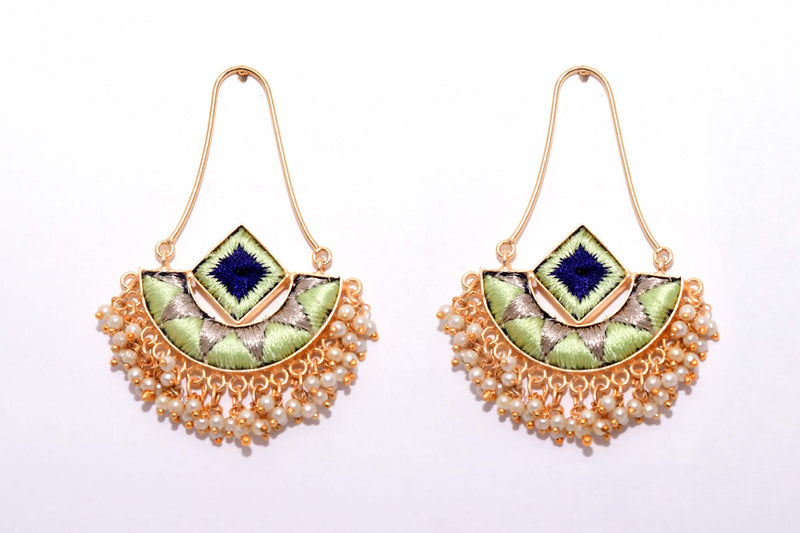 Mint Green and Navy Blue Matte Finished Fusion Of A Geometric Square And An Indian Shaped Chandbali Earrings - Riviera Closet