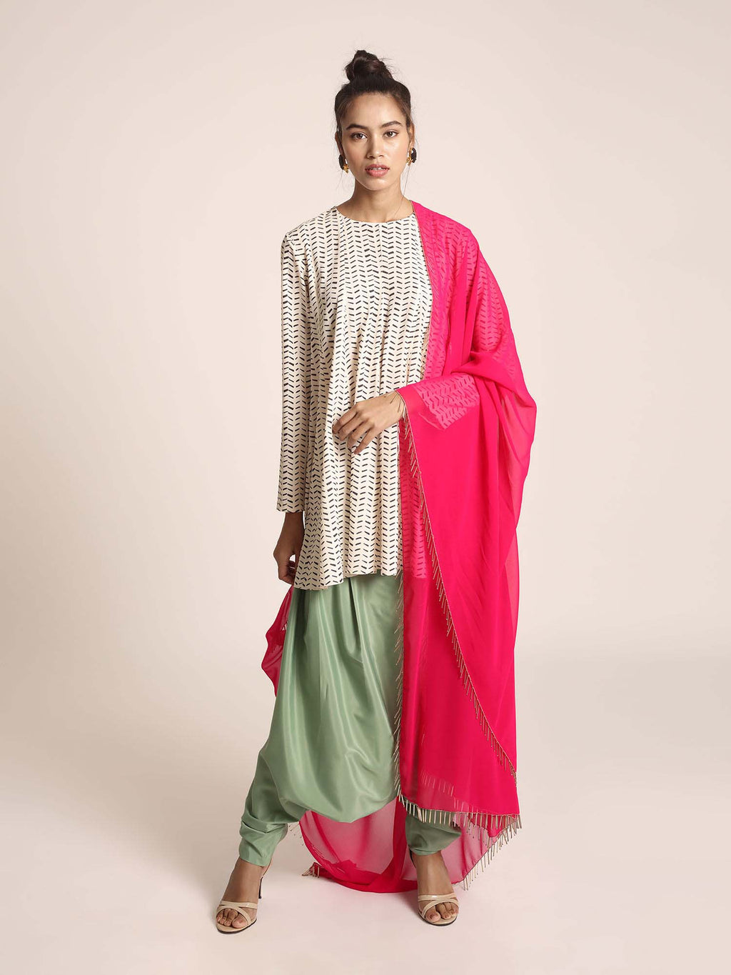 Cream Colour Printed Art Crepe Short Kalidaar with Green Colour Art Crepe Low Crotch Pant and Hot Pink Colour Art Georgette Dupatta - Riviera Closet