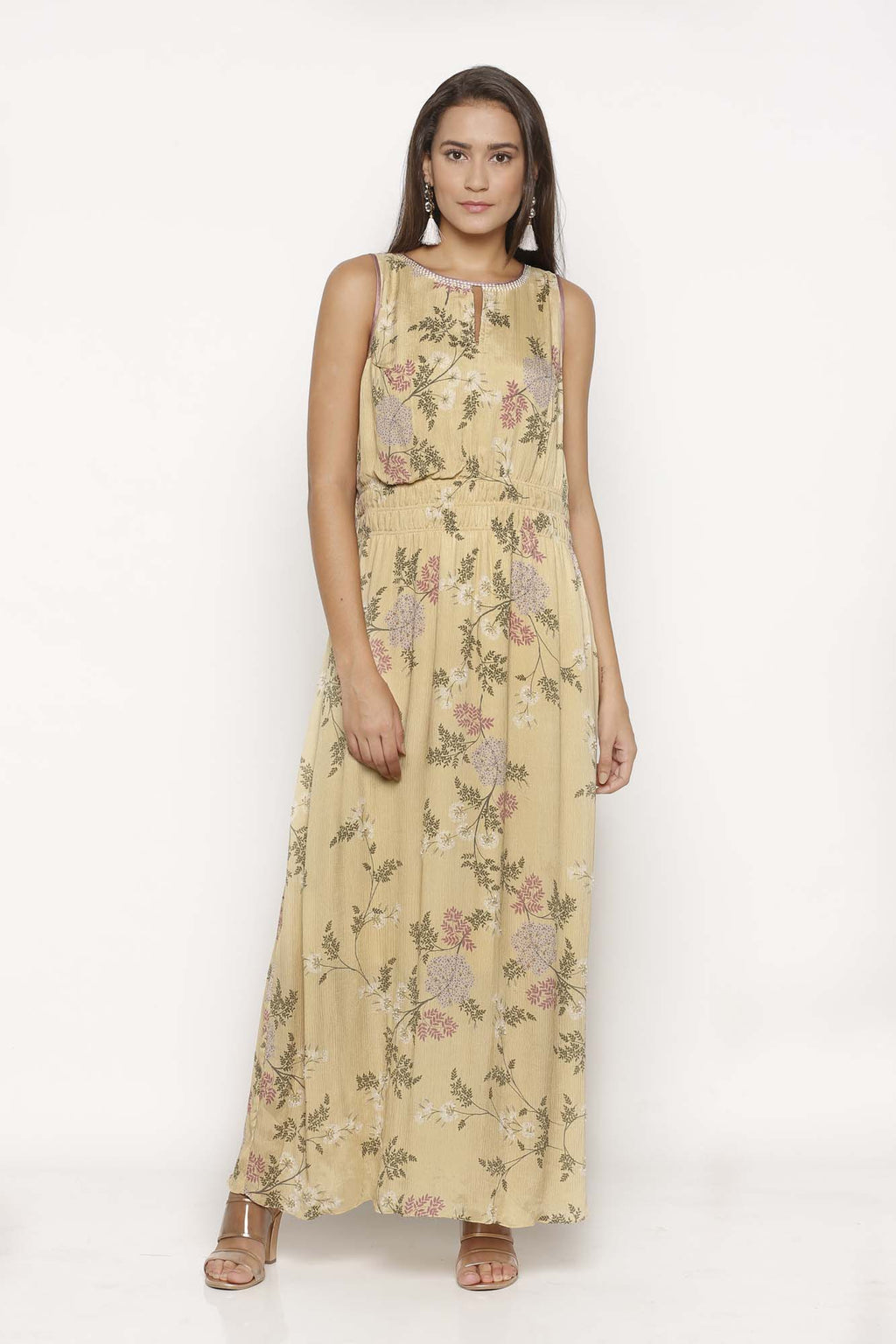 Pastel Yellow Printed Maxi Dress - Riviera Closet