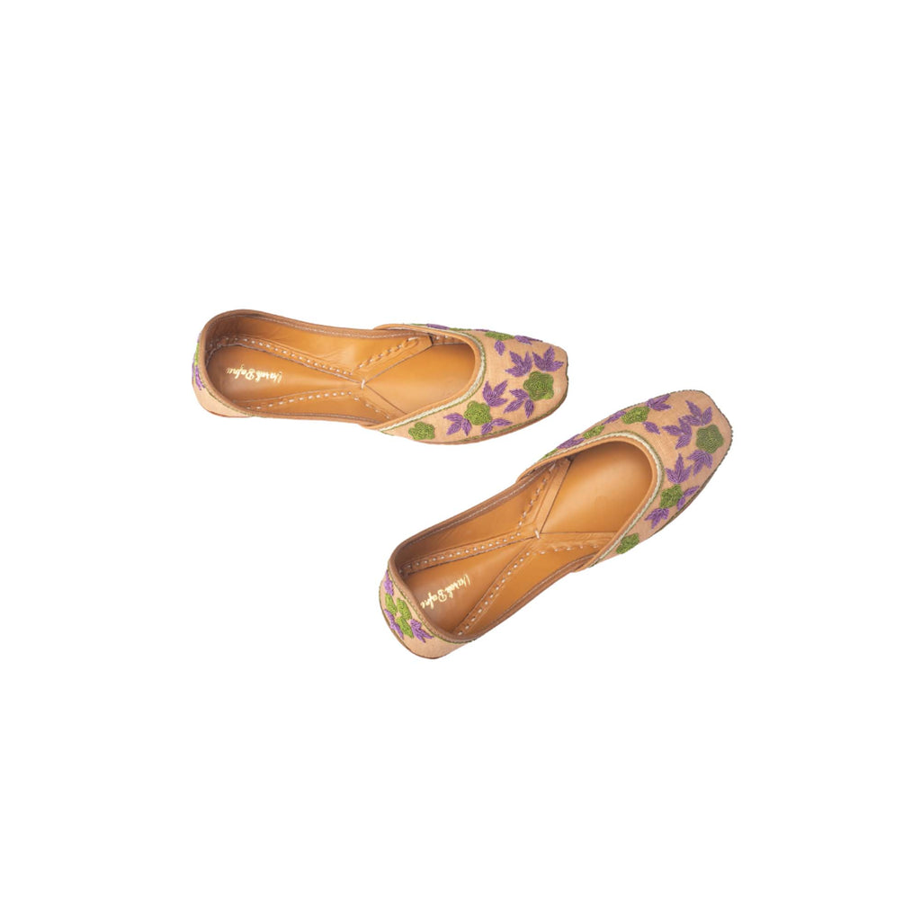 Beige Colour Hand Embroidered Floral Printed Juttis - Riviera Closet