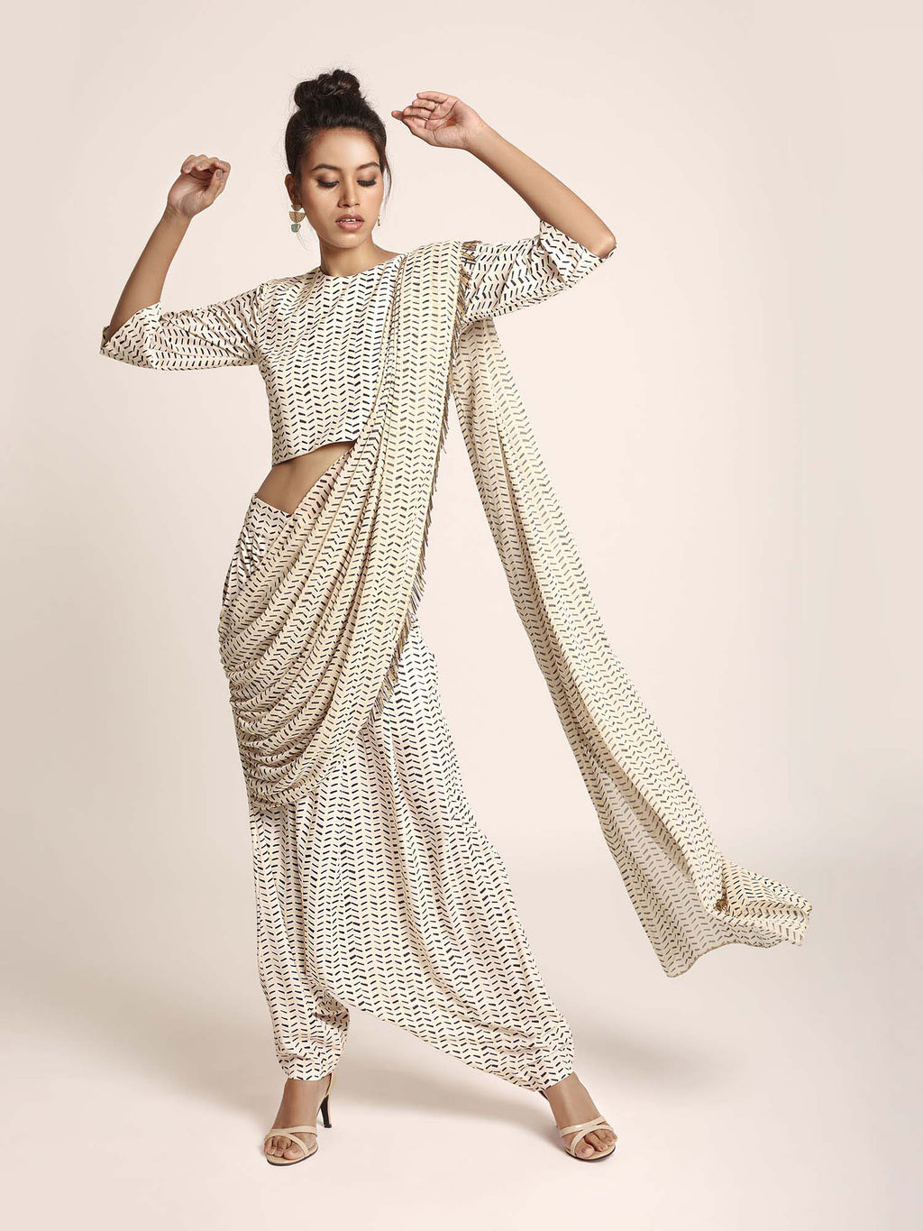 Cream Printed Art Crepe Crop Top and Low Crotch Pant with attached Printed Art Georgette Drape - Riviera Closet