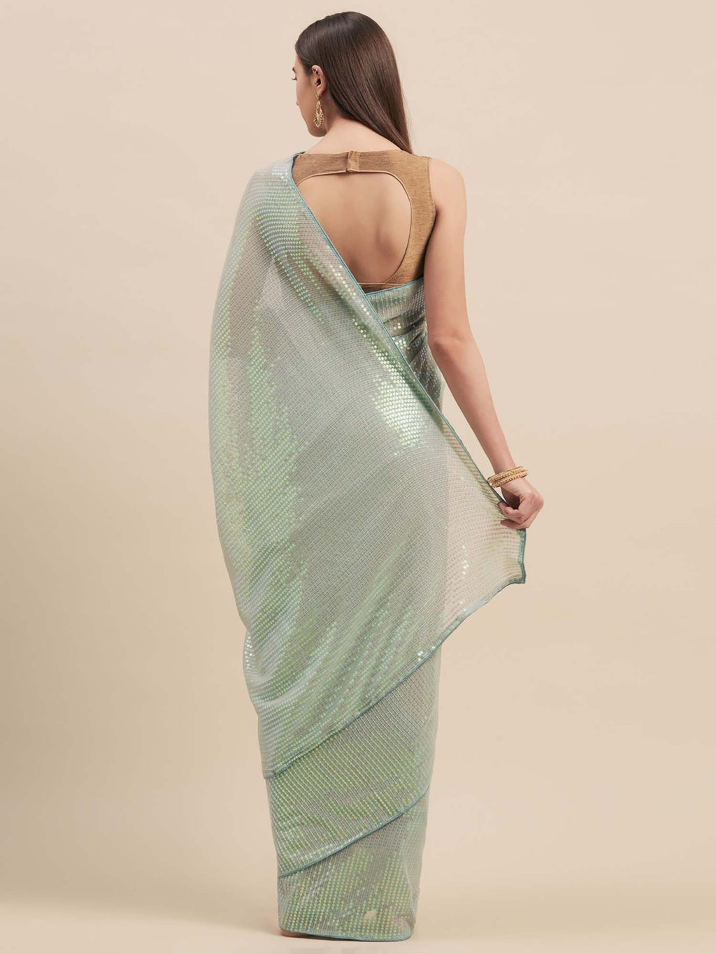 Blue Poly Georgette Sequinns Embroidered Saree - Riviera Closet