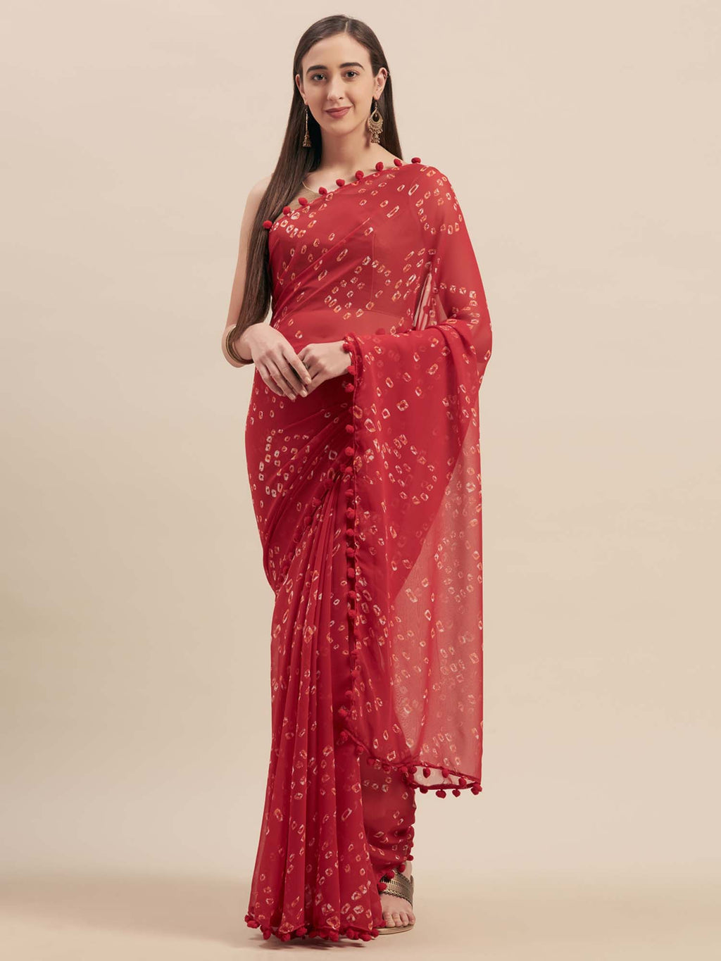 Red Poly Georgette Bandhani Design Saree With Pom Pom Lace - Riviera Closet