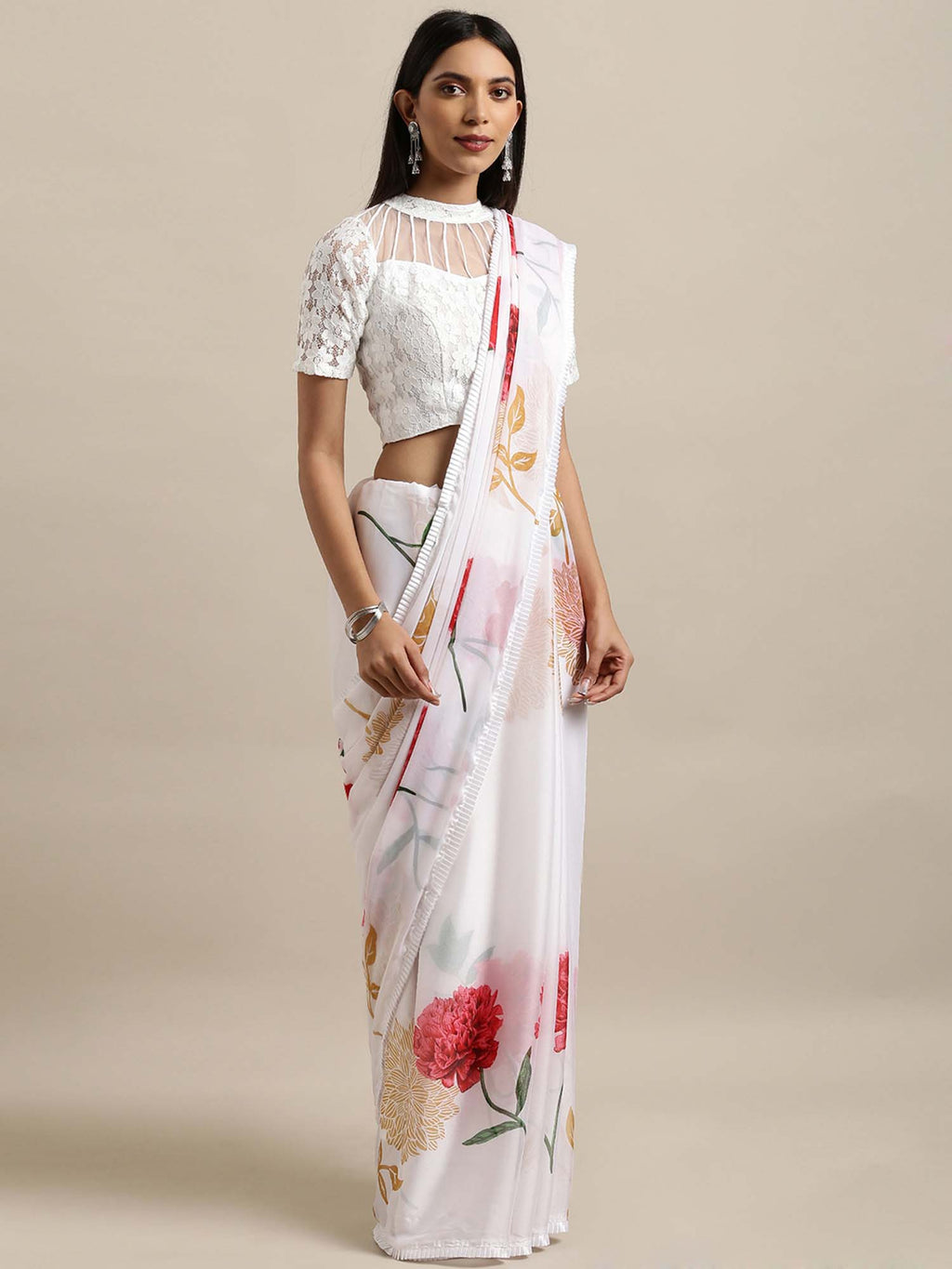 White & Pink Poly Crepe Printed Saree - Riviera Closet