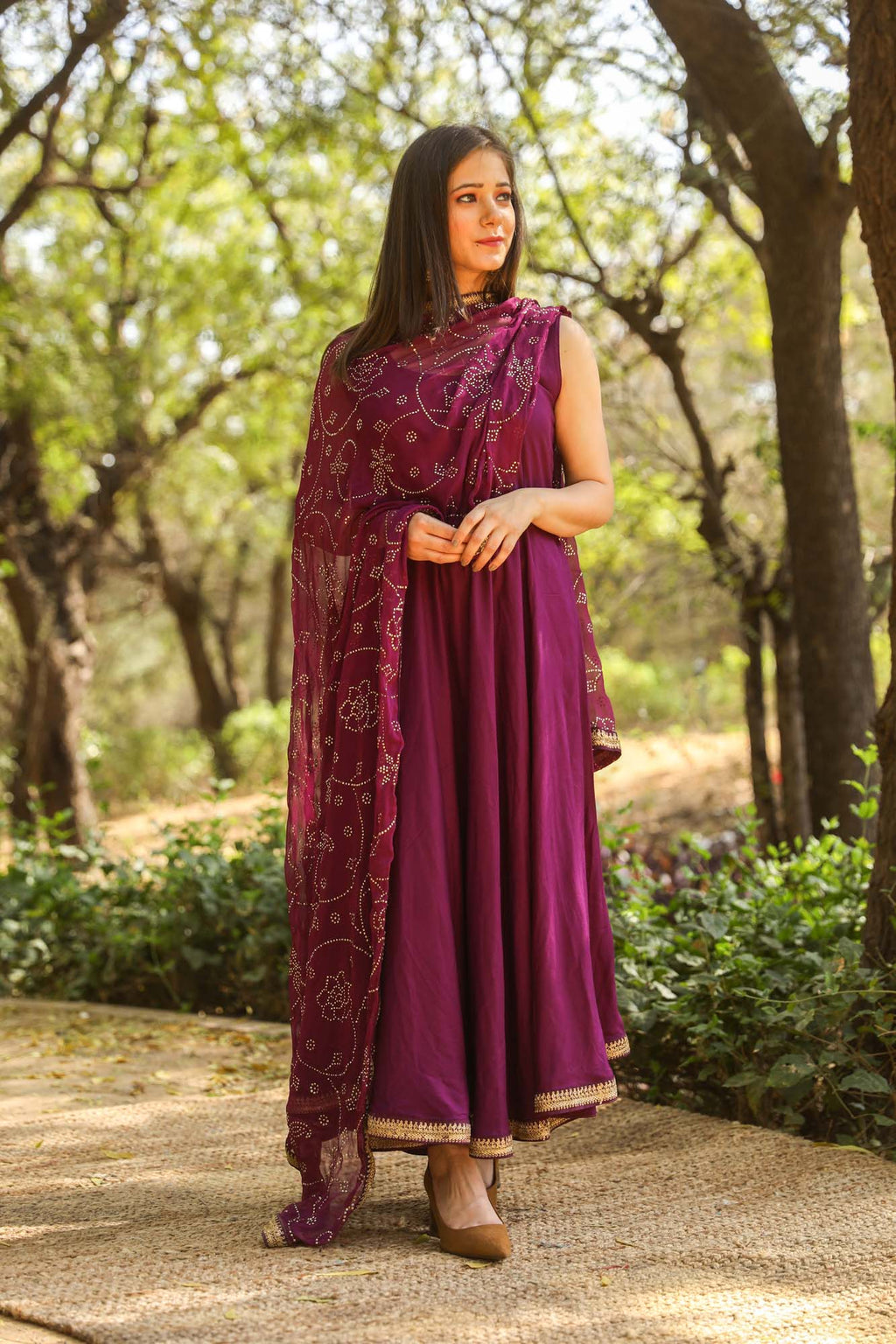 Nafisa Purple Sleeveless Anarkali Suit Set with Gold Lace Details - Riviera Closet
