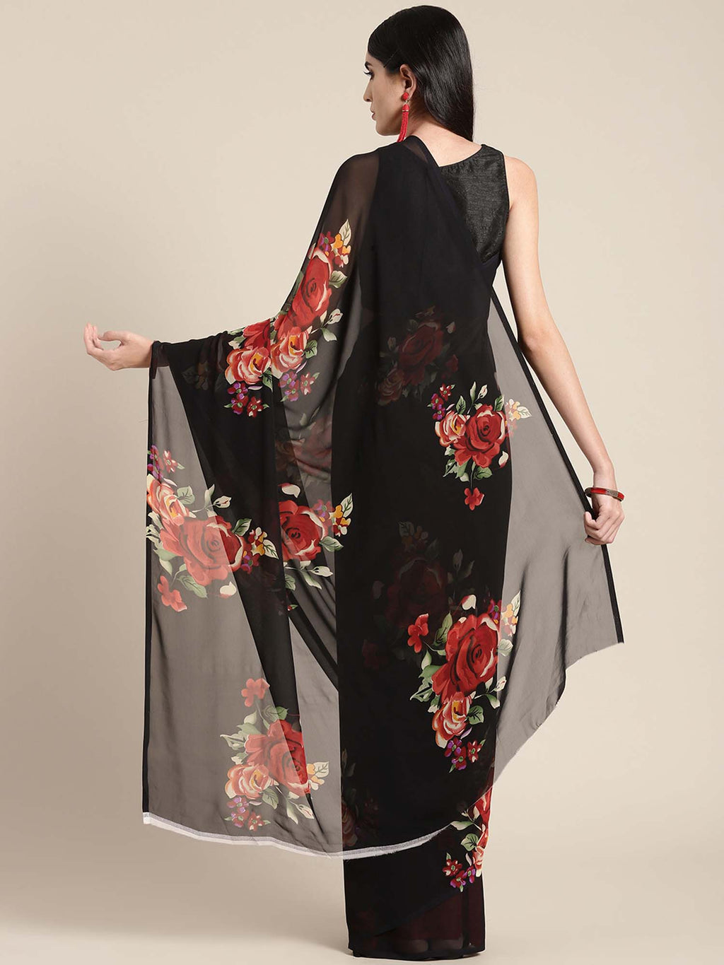Black & Red Printed Crepe Saree - Riviera Closet