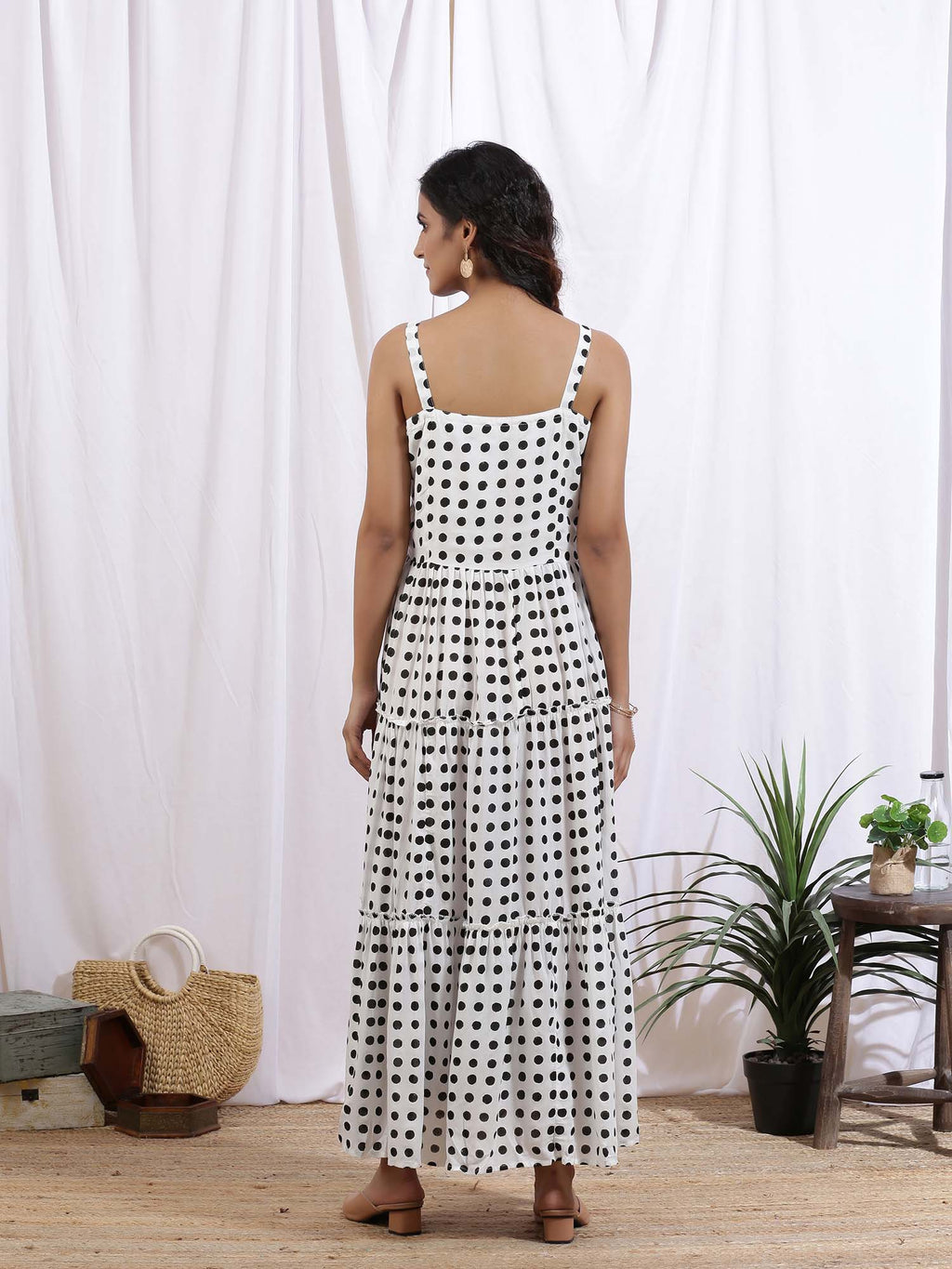 White and Black Noir Polka Dress - Riviera Closet
