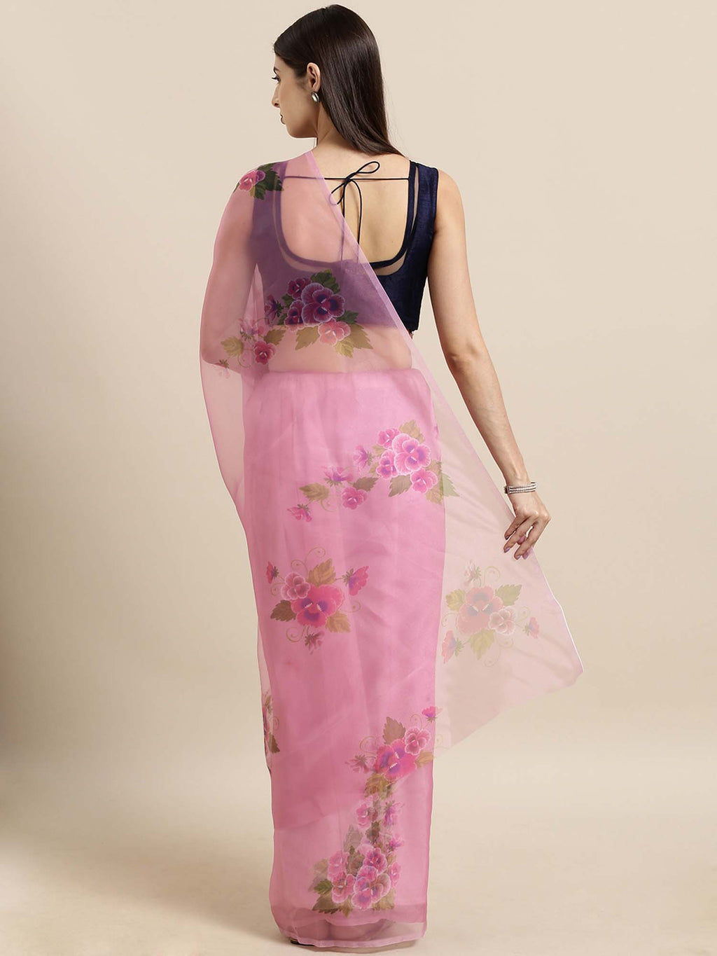 Pink Floral Digital Print Design Oraganza Saree With Poly Dupion Blouse - Riviera Closet