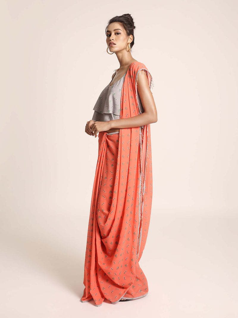 Grey Printed Art Crepe Two Layer Top with Coral Printed Art Georgette Saree - Riviera Closet