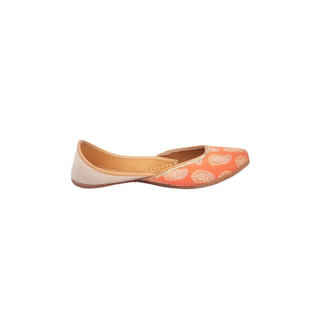 Khadi Orange Colour Hand Embroidered Printed Juttis - Riviera Closet