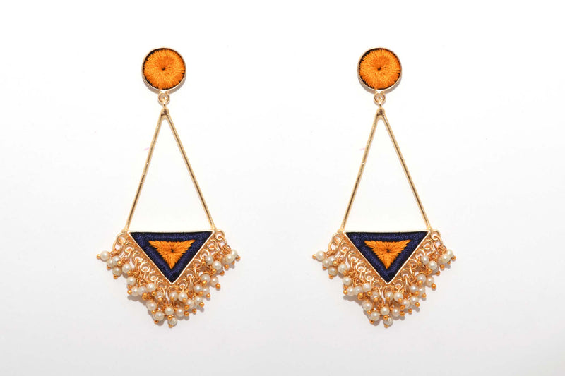 Mustard Yellow And Navy Blue Matte Finish Triangle Earrings With Long Pipe - Riviera Closet
