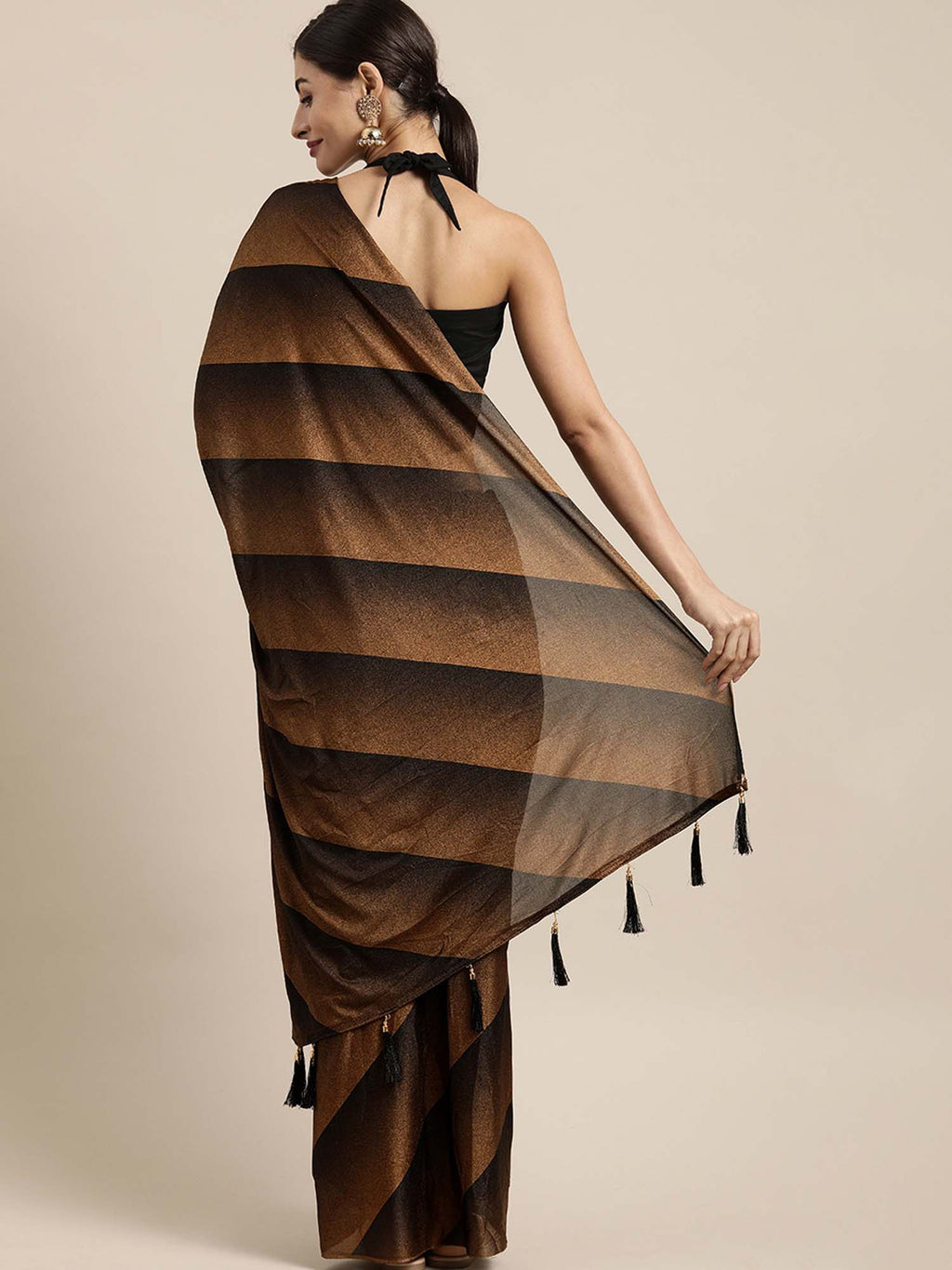 Brown and Black Color Poly Crepe Saree With Tassels and Fancy Blouse - Riviera Closet