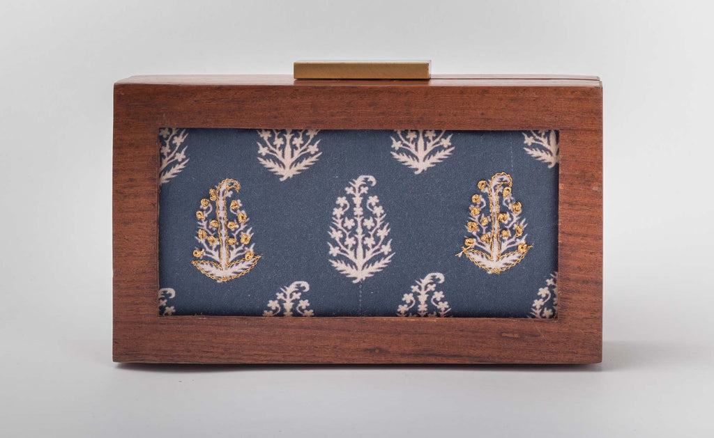 Traditionally Indigo Customized Print Clutch - Riviera Closet