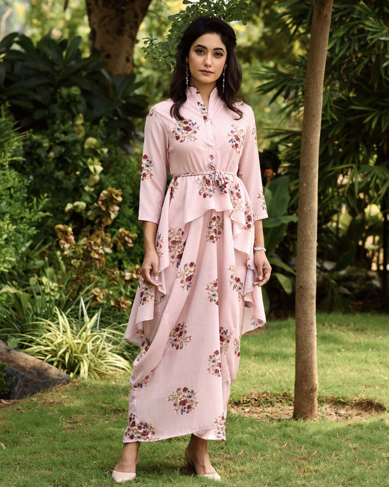 Carnation Pink Dhoti Kurti Dress - Riviera Closet