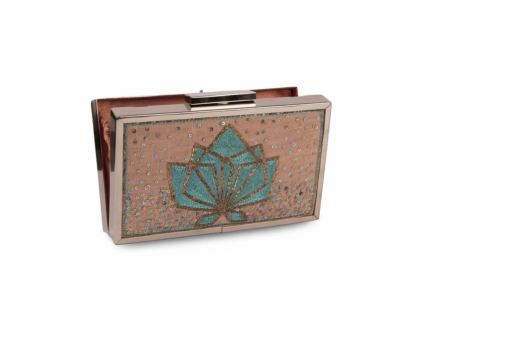 Geometric Lotus Rose Gold Colour Hand Embroidered Clutch - Riviera Closet