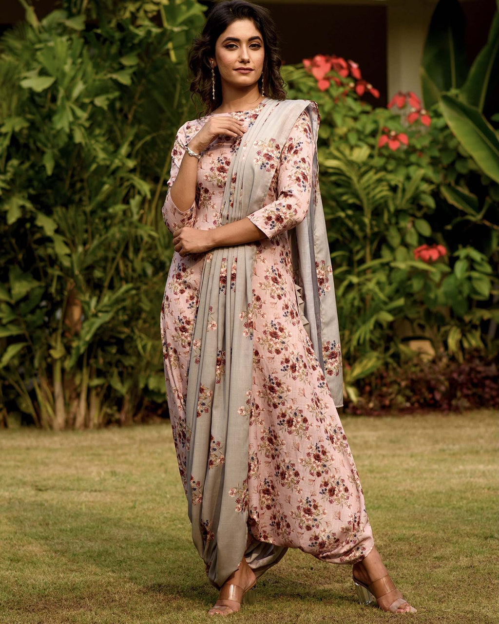 Carnation Pink Dhoti Jumpsuit With A Detachable Laurel Green Pallu - Riviera Closet