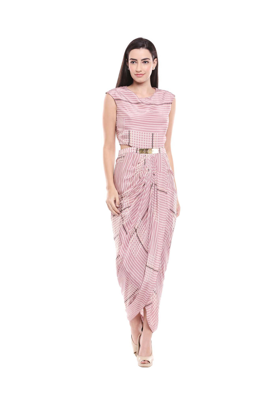 Printed Pink Drape Dress with Cape - Riviera Closet