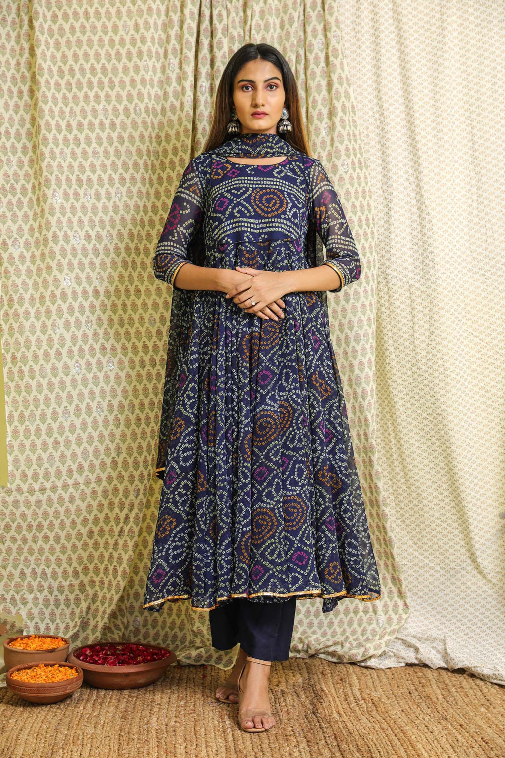 Naaz Navy Blue Bandhej Georgette Anarkali Suit Set - Riviera Closet