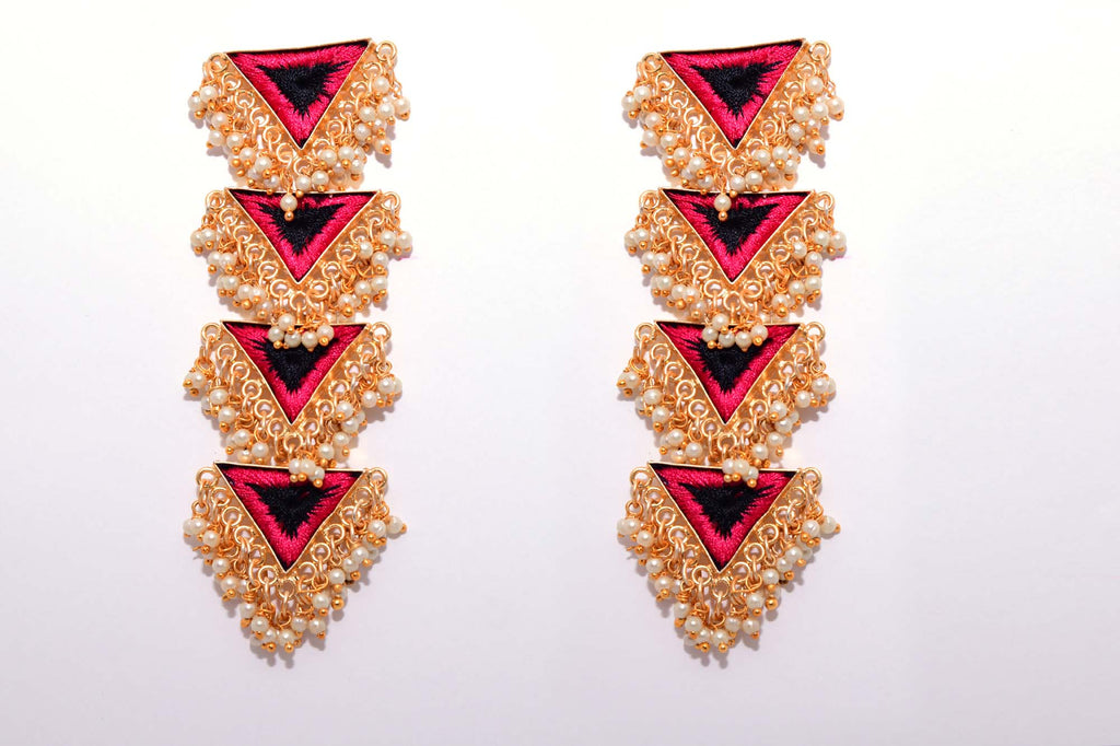 Black And Red Matte Finished Inverted Long Four Layered Triangle Earrings - Riviera Closet