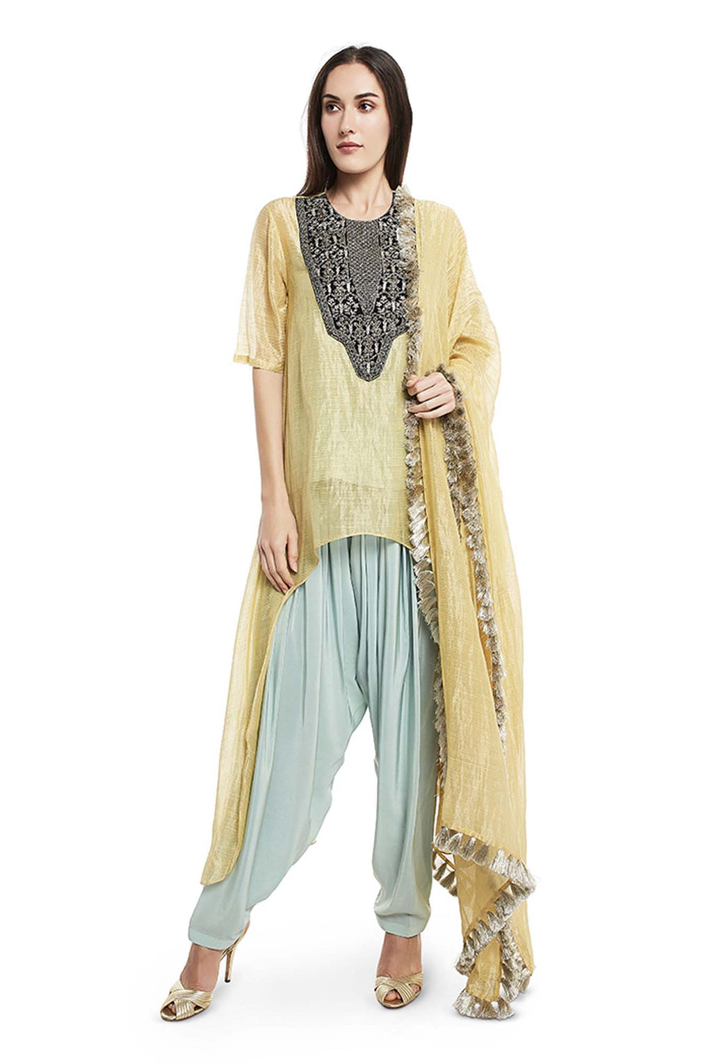 Pale Yellow Colour Chanderi Stripe High-Low Kurta with Dupatta and Aqua Colour Silk Camisole with Salwar - Riviera Closet
