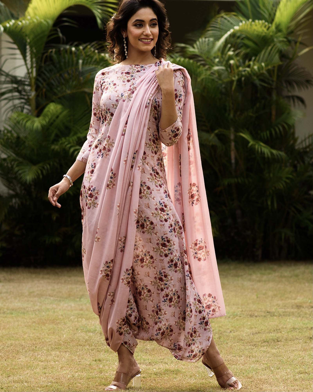 Carnation Pink Dhoti Jumpsuit With A Detachable Carnation Pink Pallu - Riviera Closet