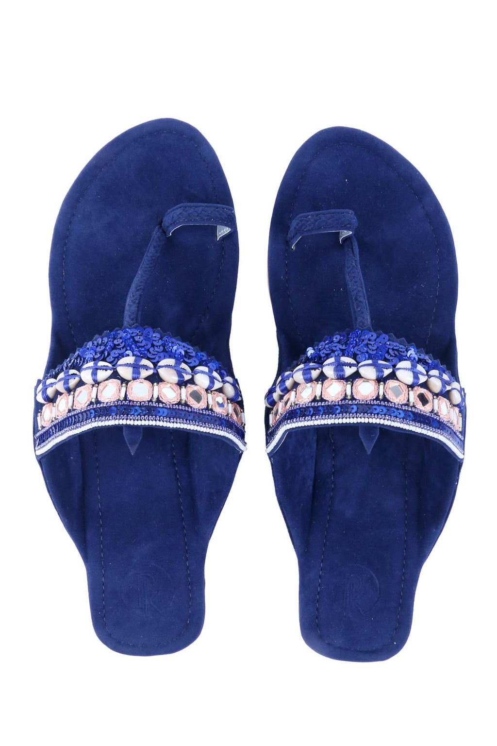 Royal Blue Cowrie Kolhapuri by Preet Kaur