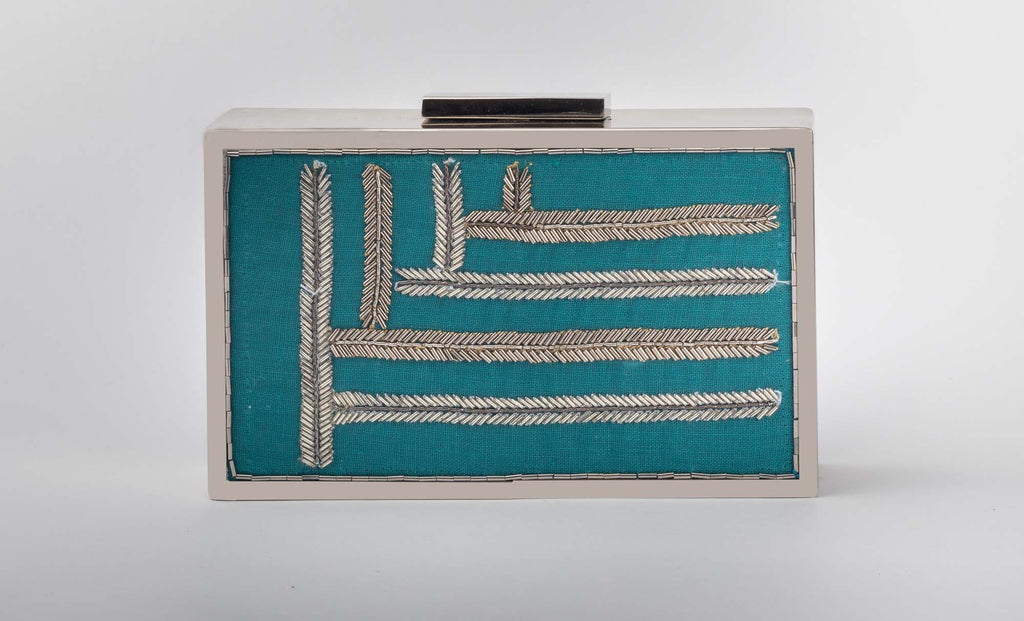 Up-Down Blue Zardozi Work Clutch - Riviera Closet