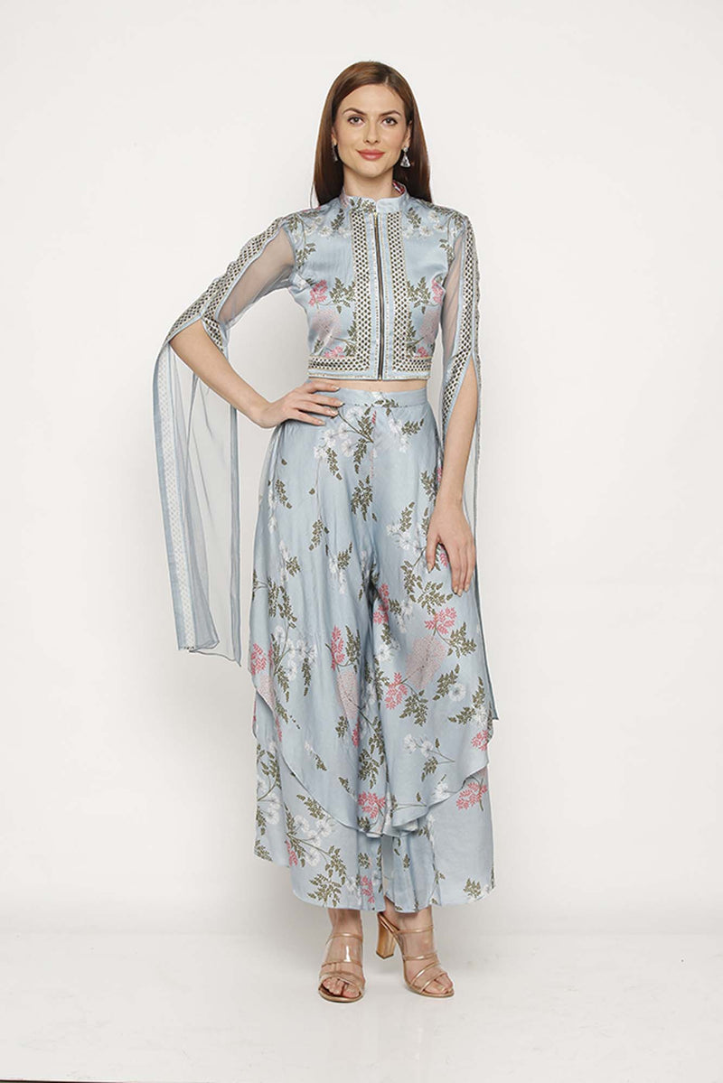 Printed Blue Double Layered Pants with Slit Sleeve Jacket - Riviera Closet