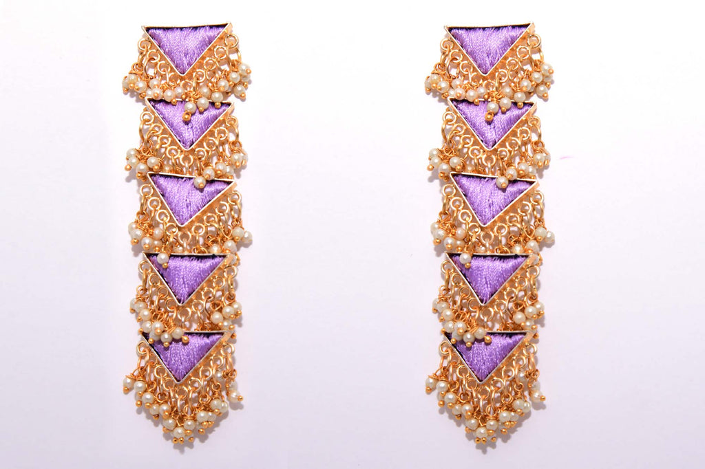 Lavender Matte Finished Five Layered Long Triangle Earrings - Riviera Closet