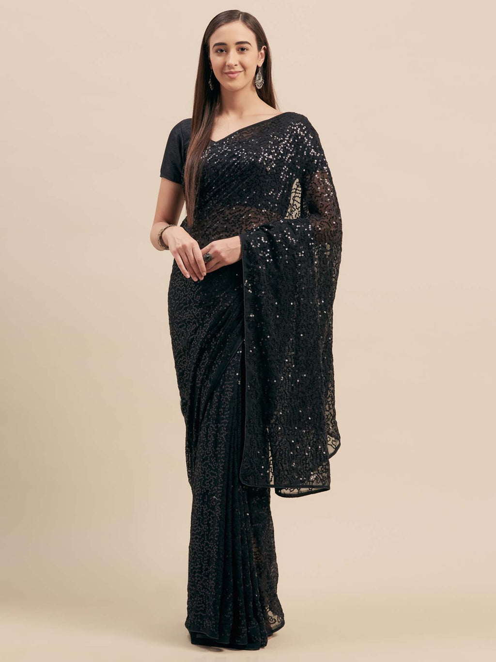 Black Poly Georgette Sequinns Embroidered Saree - Riviera Closet