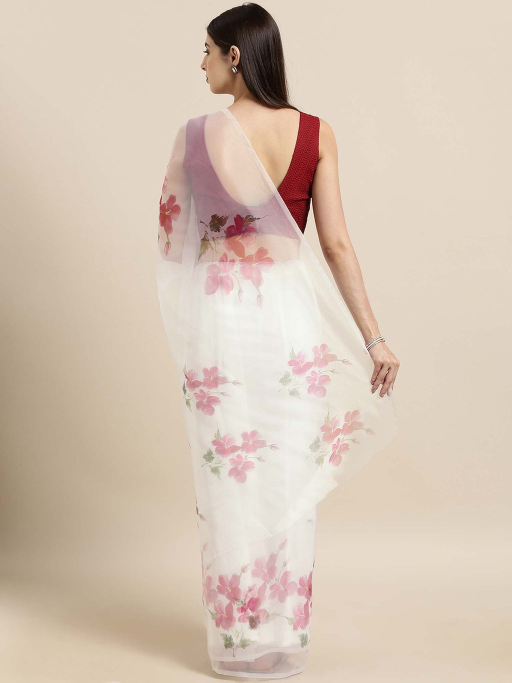 Off White and Maroon Floral Digital Print Organza Saree with Poly Dupion Blouse - Riviera Closet