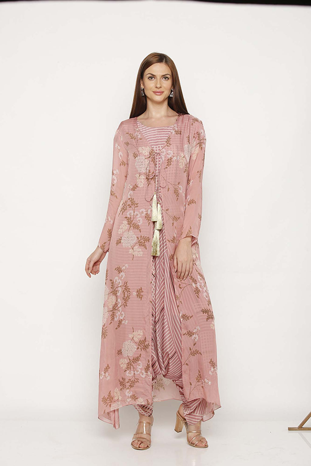 Printed Pink Jumpsuit with Jacket - Riviera Closet