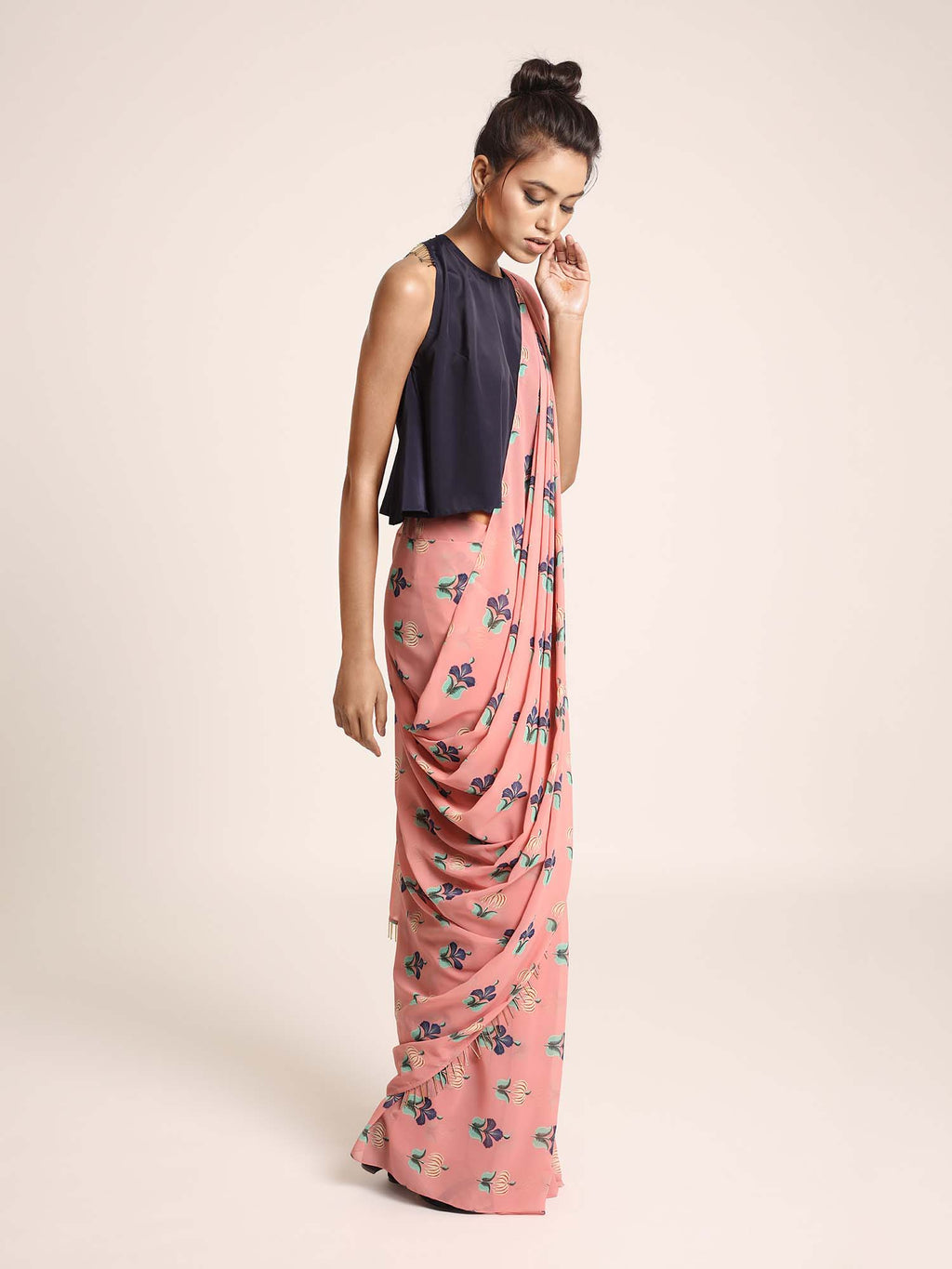 Navy Art Crepe Top with Coral Printed Art Georgette Saree - Riviera Closet