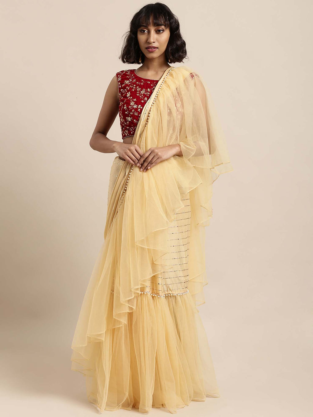 Beige Satin & Net Mukaish Embellished Ready To Wear Saree With Unstitched Blouse - Riviera Closet