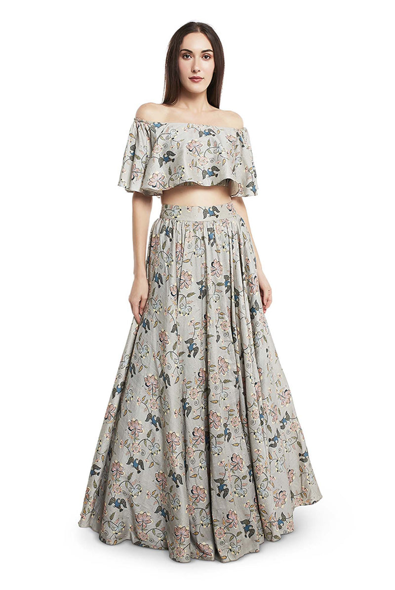Mint Colour Printed Dupion Silk Ruffle Top and Lehenga - Riviera Closet