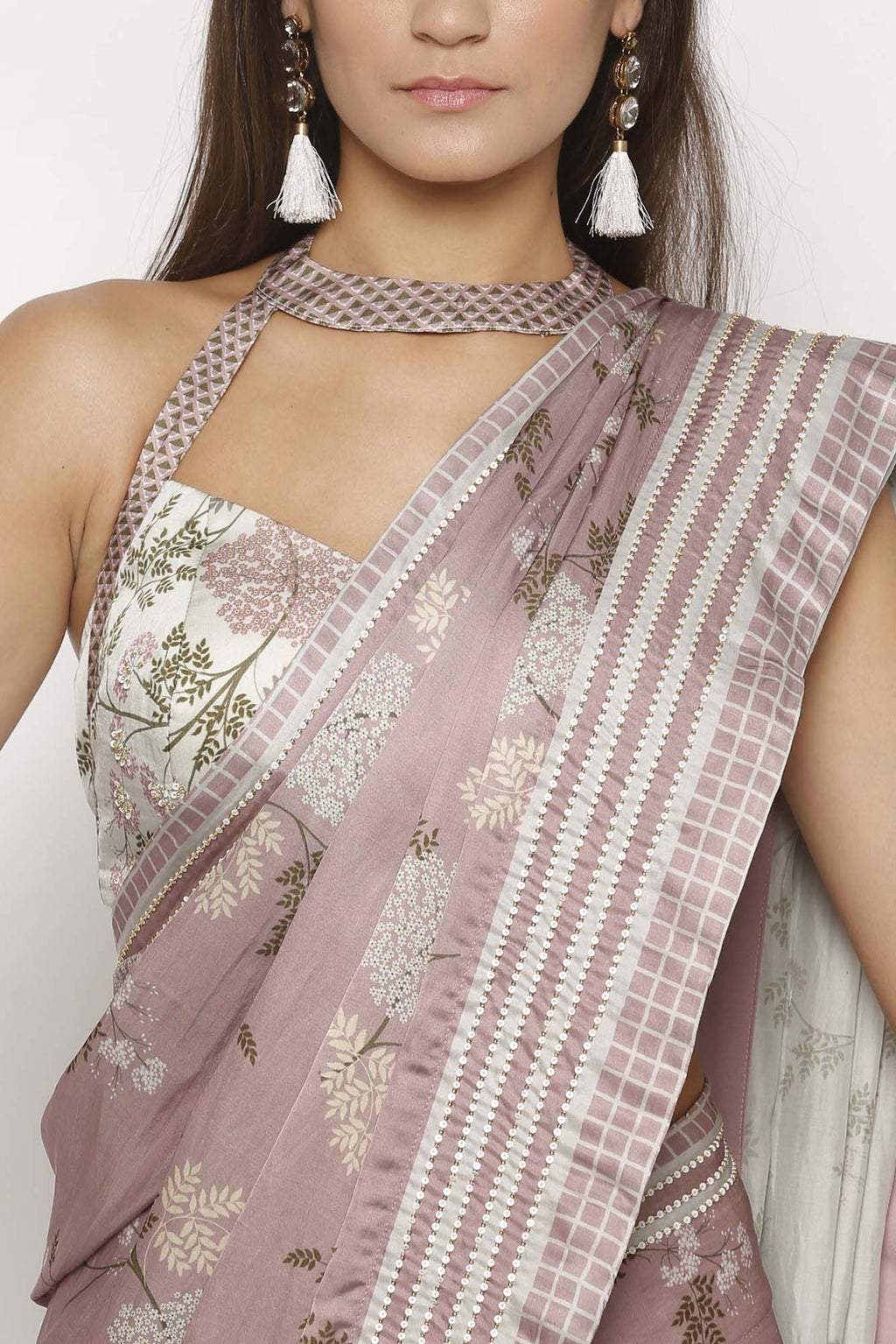 Pink Printed Draped Saree - Riviera Closet